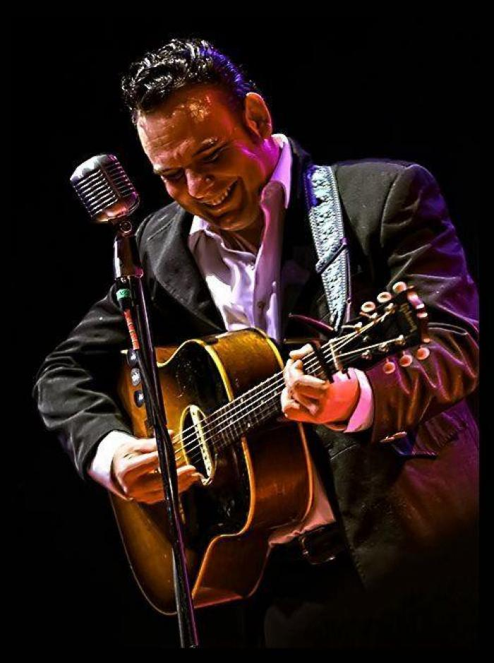 Bill Forness as Johnny Cash, playing the FOLSOM PRISON EXPERIENCE at the Liuna Event Center in south St. Louis March 16 and 17, 2019. Image courtesy of Bill Forness.