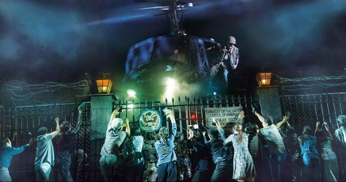 "The Helicopter Scene during ""Kim's Nightmare"" in MISS SAIGON, Apr 23 - May 5, 2019 at the Fox Theatre, St .Louis. Photo Credit: Matthew Murphy and Johan Persson"