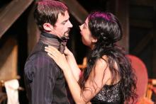 "Todd Schaefer and Cherlynn Alvarez in New Line Theatre's ""The Threepenny Opera."" Photo Credit: Jill Ritter Lindberg"