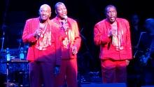The O'Jays: Walter Williams, Eric Grant and Eddie Levert, at the Fox Theatre, 11/13./15. Photo by Jeff Ritter