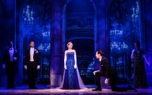 Lila Coogan (Anya), Stephen Brower (Dmitry) and the company of the National Tour of ANASTASIA. Photo by Evan Zi